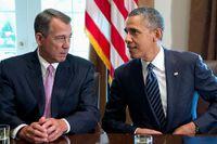 Den republikanske talmannen John Boehner i samtal med president Barack Obama.