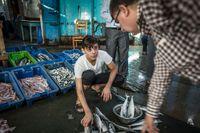 Fiskhandel i Gazas hamn. Israel tillåter bara fiskarna att gå ut sex sjömil från stranden.