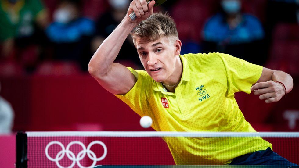 Anton Källberg i matchen mot Lin Yun-Ju.