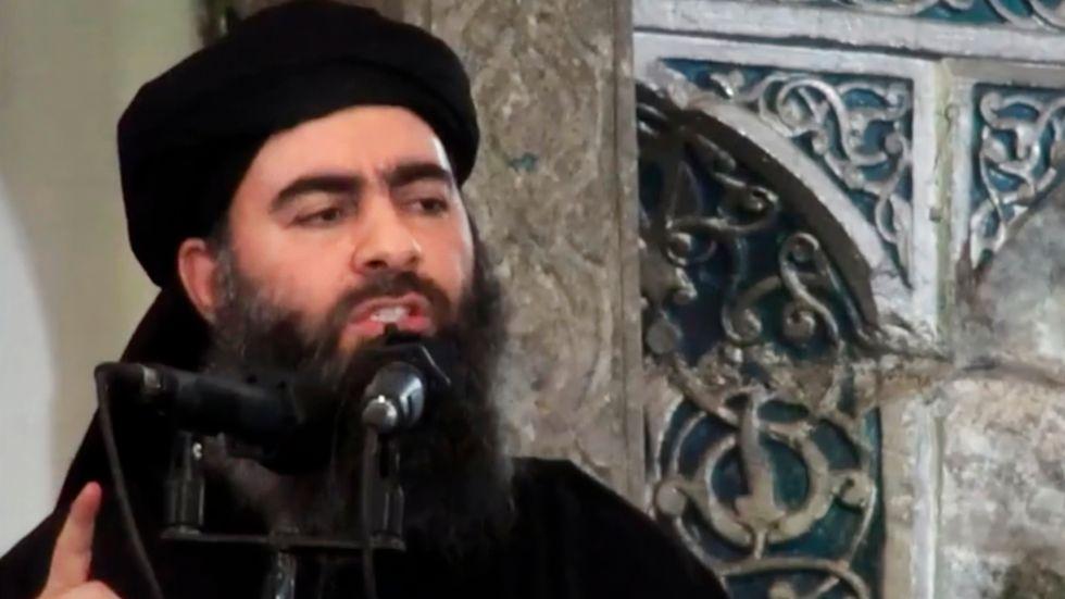Bild på IS-ledaren Abu Bakr al-Baghdadi från 2014.