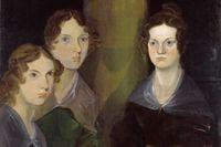Anne, Emily och Charlotte Brontë, porträtt av brodern Branwell Brontë från ca 1834 (beskuret).