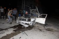 En bil i Rafah som träffats i en israelisk attack.