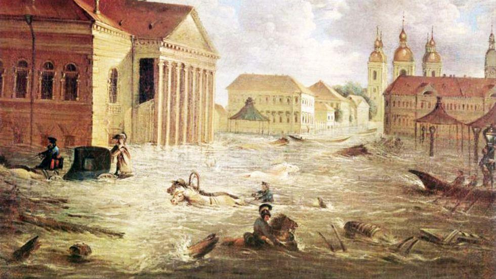 Översvämningen 1824 är den värsta i Sankt Petersburgs historia. Målning av Fjodor Jakovlevitj Aleksejev.
