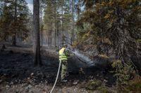 Personal från hemvärnet bekämpar skogbranden i Älvdalen tidigare i sommar. Arkivbild
