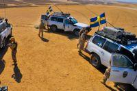 Svenska Isaf-soldater patrullerar utanför Mazar-i-Sharif