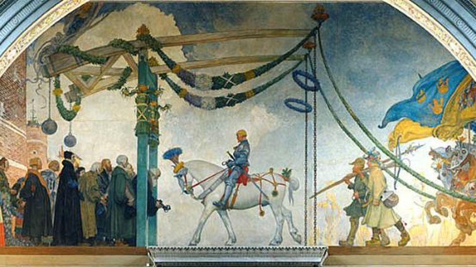 """""""Gustav Vasas intåg i Stockholm 1523"""" målades av Carl Larsson 1891–1908. Verket är runt 7 gånger 14 meter och hänger i Nationalmuseums övre trapphall i Stockholm."""