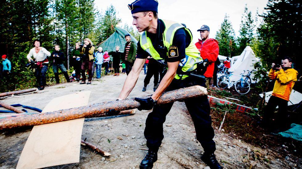 Protesterna var omfattande 2013, när det brittiska gruvbolaget Beowulf för tredje gången försökte provbryta järnmalm i Kallak väster om Jokkmokk. Arkivbild.
