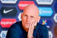 Norges förbundskapten Ståle Solbakken på tisdagens presskonferens efter VM-kvalmatchen mot Gibraltar.