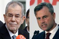 Oberoende gröne kandidaten Alexander Van der Bellen (till vänster) besegrar högerpopulisten Norbert Hofer.