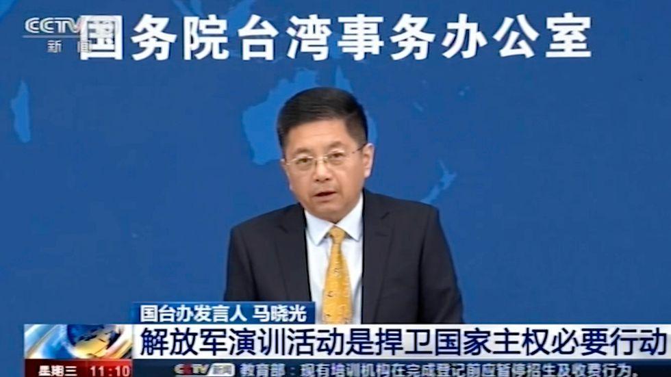 Ma Xiaoguang uttalade sig om Taiwan på en tv-sänd presskonferens.