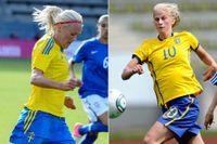 Josefine Öqvist och Sofia Jakobsson slåss om en plats på högerkanten.
