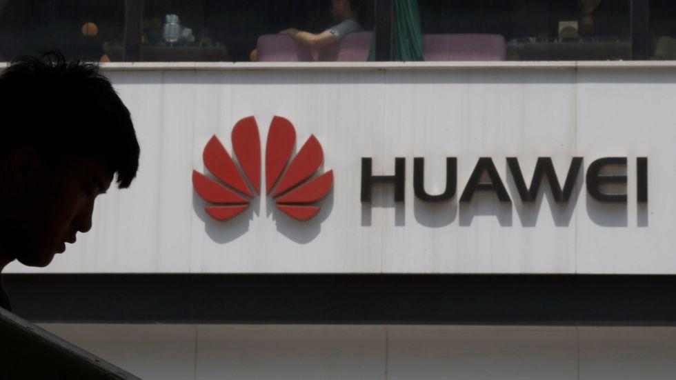 Försäljningsras för Huawei i första kvartalet 2021. Arkivbild