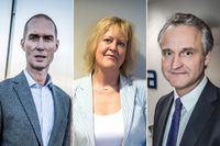 Johan Sidenmark, Eva Halvarsson och Magnus Billing, vd för AMF, andra AP-fonden och Alecta.