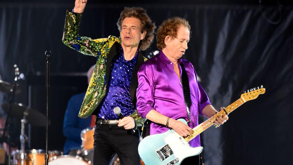 Rolling Stones-medlemmarna Mick Jagger och Keith Richards rockar på. Arkivbild.
