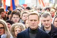 Aleksej Navalnyj under en demonstration i Moskva i februari 2020.
