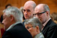 Fredrik Reinfeldt (M), Stefan Attefall (KD), Maud Olofsson (C) och Bengt Westerberg (L) under Alliansens framtidsseminarium i första kammarsalen i riksdagen.