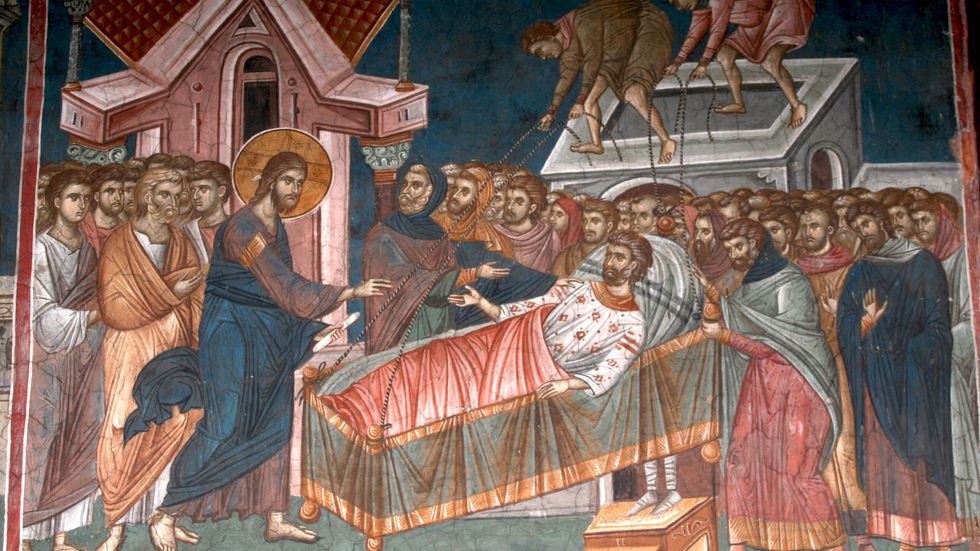 Jesus botar en lam man i Kapernaum. Målning från 1300-talet i det serbisk-ortodoxa klostret Visoki Dečani i Kosovo.
