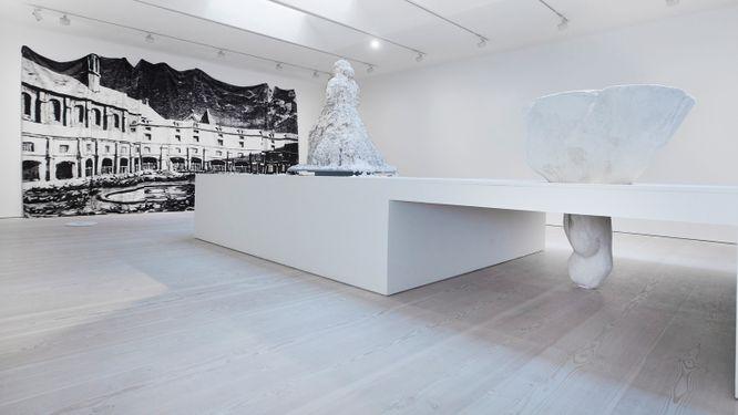 """Charlotte Gyllenhammar, """"kastad/cast"""", installationsvy på Galerie Forsblom."""
