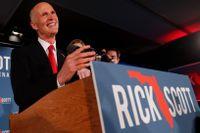 Rick Scott ser ut att vinna i Florida. Men Demokraterna har begärt omröstning.