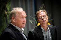 Swedbank styrelseordförande Göran Persson och bankens nye vd Jens Henriksson.