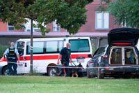 Polis på plats efter det att två svenska män sköts ihjäl i Köpenhamnsförorten Herlev i tisdags.