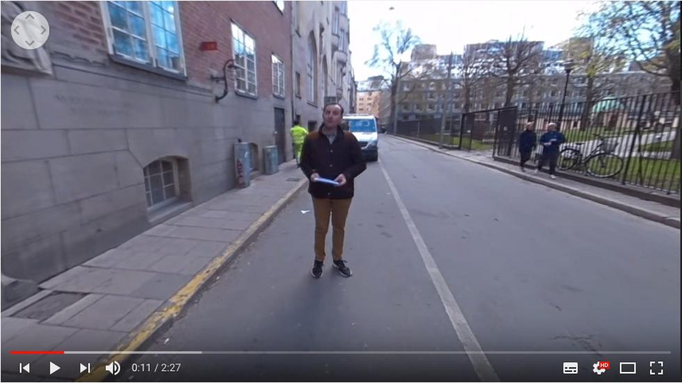 """En bild ur Levande historias virtuella stadsvandring """"Studenter mot 'flyktingimporten'""""."""