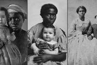 Från vänster: barnsköterska med ett barn (runt 1850), HE Hayward med barnflicka, slaven Louisa (runt 1858) och Sally Smith med familjens slav Frances (runt 1863).