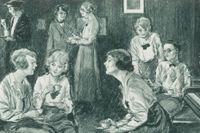 Studenter vid Somerville College, Oxfords universitet, teckning från cirka 1920.