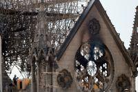 En man kontrollerar den bärande träkonstruktionen i Notre-Damekyrkan efter branden.