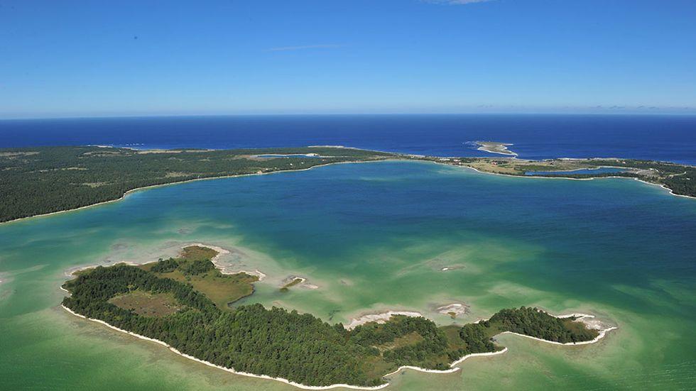 En flygbild över Bästeträsk och Ojnareskogen på norra Gotland.