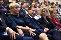 Anja Tenje, Ulf Kristersson och Elisabeth Svantesson i Moderaternas partistyrelse vid stämman 2019.
