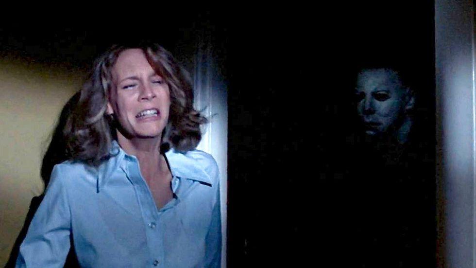 "Jamie Lee Curtis i ""Alla helgons blodiga natt""."