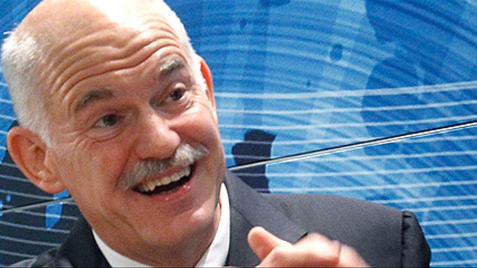 "Greklands premiärminister Giorgos ""mister 110 procent"", Papandreou."