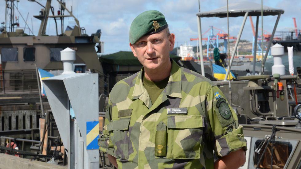 – Vi har mandat att ingripa mot och avbryta piratattacker och väpnade rån till sjöss, säger major Thomas Olsson, chef för den svenska styrkan. Foto: Magnus Jirlind, försvarsmakten