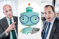 Statsministerkandidaterna Fredrik Reinfeldt och Stefan Löfven med botten Ada i mitten.