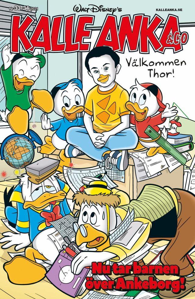 Här är framsidan på Kalle Anka-tidningen där Thor är med.