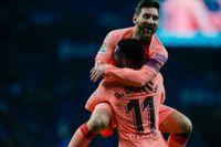 Barcelonas Lionel Messi firar mot Espanyol.