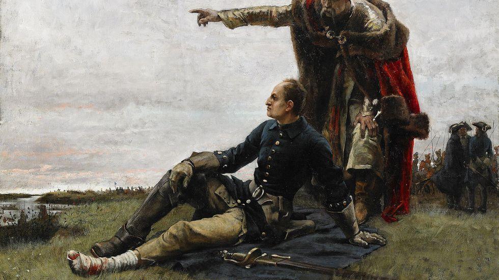 Karl XII och kosackledaren Ivan Mazepa efter slaget vid Poltava 1709. Målning av Gustaf Cederström från 1879.