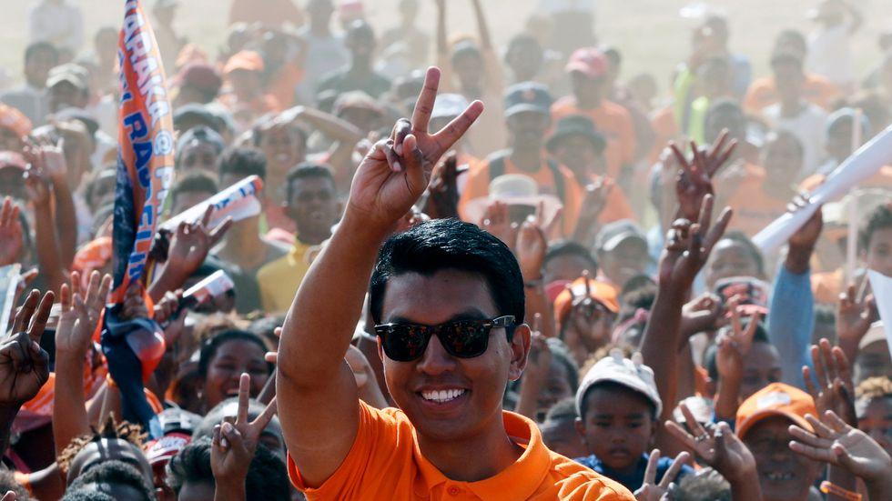 Madagaskars president Andry Rajoelina under valkampanjen inför landets presidentval 2018.