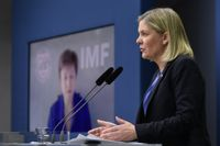 IMF:s vd Kristalina Georgieva och Sveriges finansminister Magdalena Andersson, nytillträdd ordförande för IMFC, Internationella valutafondens högsta rådgivande organ. Arkivbild.