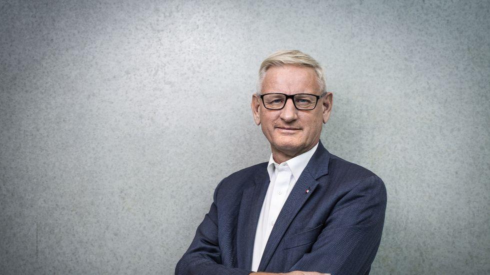 """Carl Bildt, aktuell med boken """"Den nya oredans tid""""."""