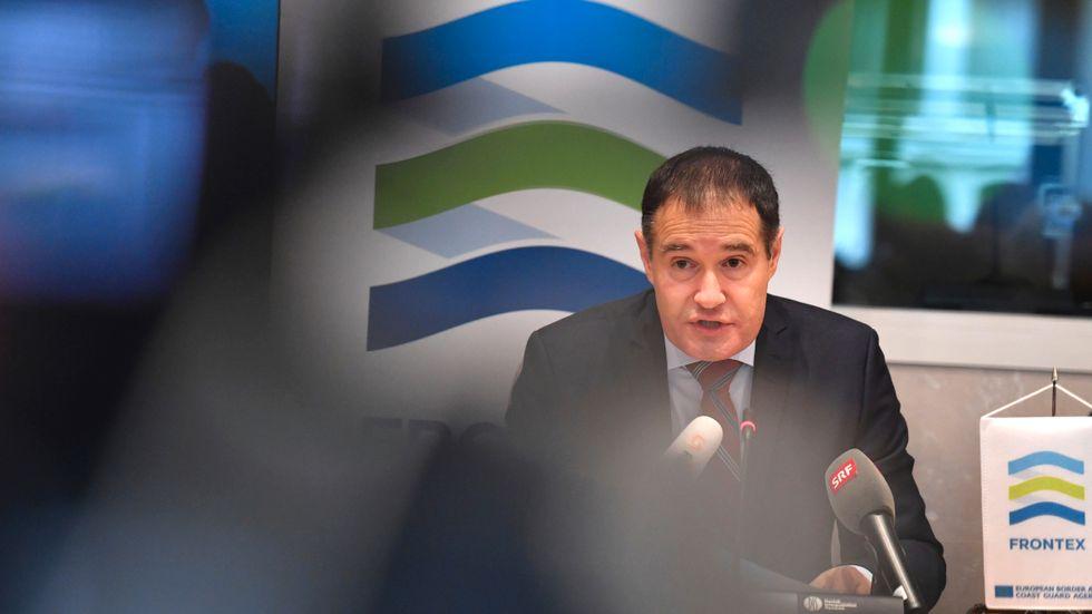 Fabrice Leggeri, chef för EU:s gränsbevakningsenhet Frontex, håller presskonferens i Bryssel om utsikterna inför 2018.