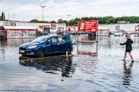 Översvämningar i Kristianstad under onsdagen.