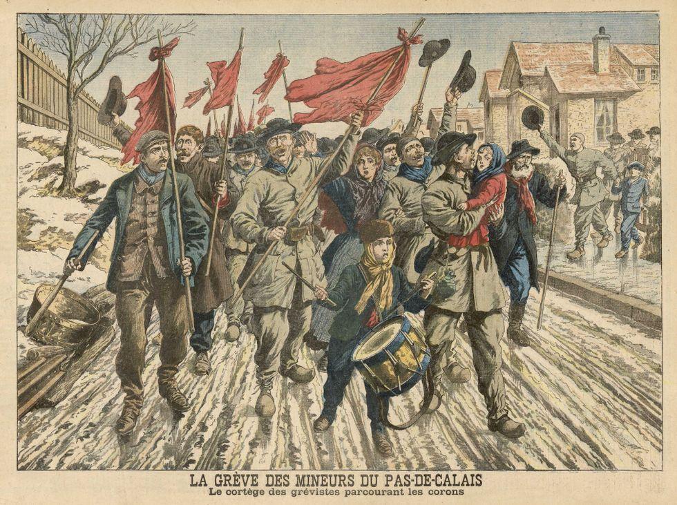 Gruvarbetare demonstrerar i Pas-de-Calais, Frankrike, 1906.