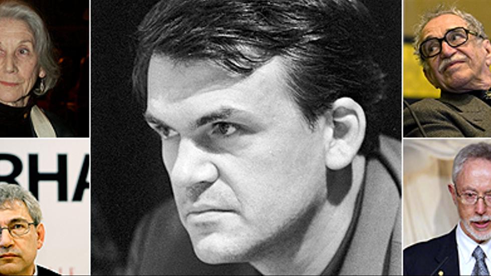 Milan Kundera ( i mitten) får stöd av de tidigare Nobelpristagarna Nadine Gordimer, Orhan Pamuk, Gabriel Garcia Marquez och JM Coetzee.