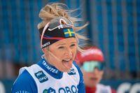 En tröttkörd Frida Karlsson slutade nia i comebacken i masstarten i Falun.