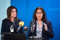 Arbetsmarknadsminister Eva Nordmark (S) och nytillträdda generaldirektören Maria Mindhammar håller pressträff om regleringsbrevet för 2020 för Arbetsförmedlingen.