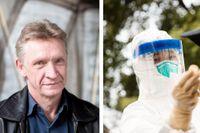 Professor Åke Lundkvist samt en person som testas för covid-19 i Wuhan i slutet av februari.