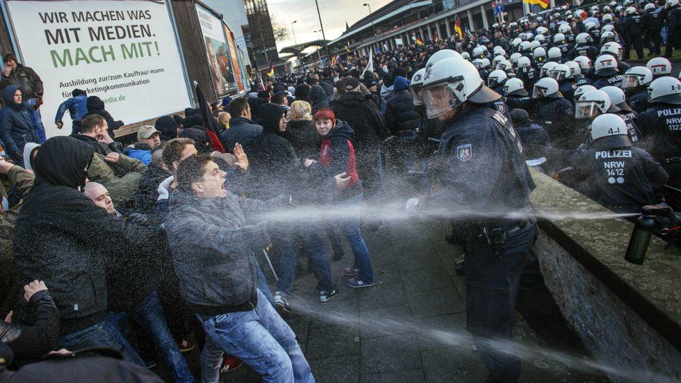 Demonstrationer efter övergreppen i Köln.