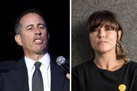 """Jerry Seinfeld och Mia Skäringer – två komiker som skämtar om """"könsgapet""""."""